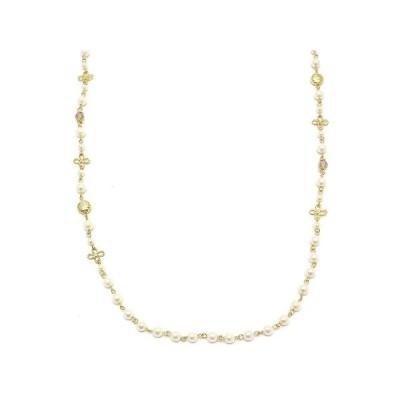 ネックレス 小さなお花&メタルモチーフがついた華奢なパールチェーンネックレス