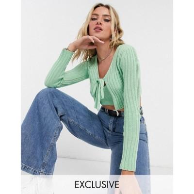 リクレイム ヴィンテージ Reclaimed Vintage レディース カーディガン トップス Inspired Knitted Tie Front Cardigan In Green グリーン