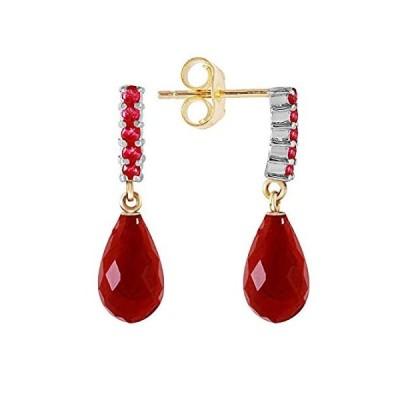 【新品】7カラット14K Solidゴールドwith天然ルビーイヤリング染めBriolette Dangling Ruby