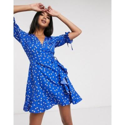 ウェンズデーガール ミニドレス レディース Wednesday's Girl mini wrap dress with tie sleeves in ditsy floral エイソス ASOS ブルー 青