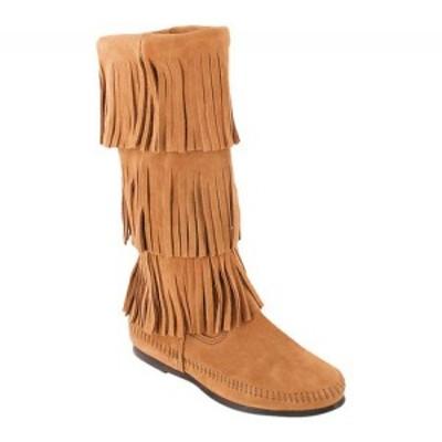 ミネトンカ Minnetonka レディース ブーツ シューズ・靴 Calf Hi 3-Layer Fringe Boot Taupe Suede