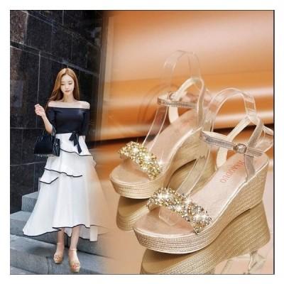 サンダル  レディースシューズ 厚底 ストラップ ダイヤモンド キラキラ 美足  2色 歩きやすい 結婚式 二次会お呼ばれ
