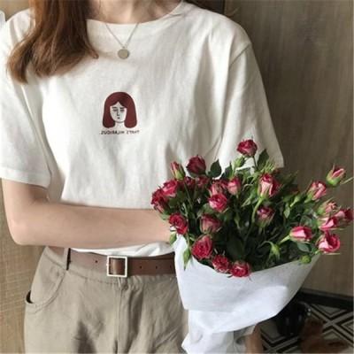 Tシャツ  レディース半袖   港風 カジュアル 2021新作  ゆったり  春夏 海外旅行 可愛い  ャンファッショ