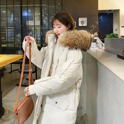 レディース 大きいサイズ ダウンジャケット 秋 冬 春 中綿 フードコート 無地 ロング丈 ダウンコート 防寒着 中綿コート ゆったり 体型カバー アウター 韓国風