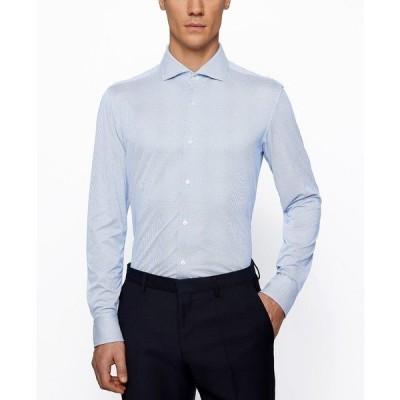 ヒューゴボス シャツ トップス メンズ BOSS Men's Jason Slim-Fit Shirt Medium Blue