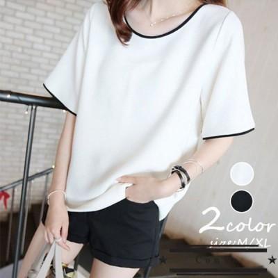 Tシャツ レディース きれいめ 40代 春夏 上品 半袖Tシャツ ブラウス 白トップス オシャレ 韓国風 ゆったりカットソー Tシャツ 2色 カジュアル