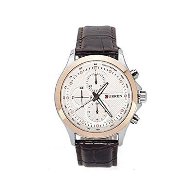 【新品・送料無料】CURRENクラシックシルバーケースローズゴールドベゼルブラウンレザーストラップアナログクオーツ腕時計cur-0010
