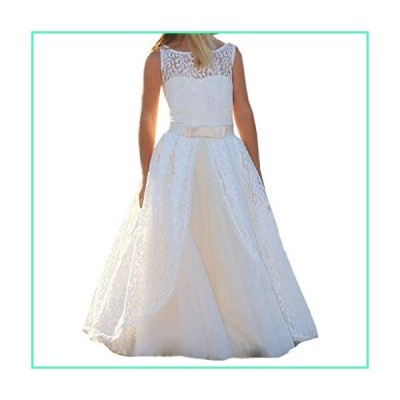 Girls Lace Long Train Flower Girl Bridesmaid Dress Party Pageant Dresses (D-White, 2)並行輸入品