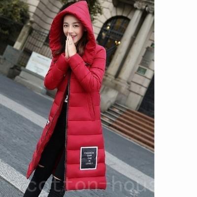 ロングフード付ダウン中綿コートアウター防寒暖か大きいサイズ