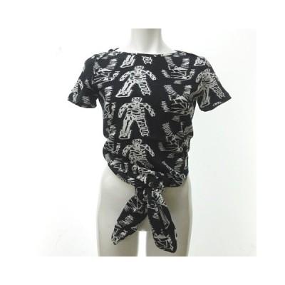 【中古】ベルンハルトウィルヘルム BERNHARD WILLHELM Tシャツ カットソー 半袖 総柄 黒 白 S 0818 NST レディース 【ベクトル 古着】