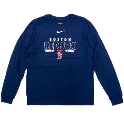 MLB ボストン・レッドソックス Tシャツ カラー バー ロングスリーブ ナイキ/Nike ネイビー【OCSL】2102SGSL