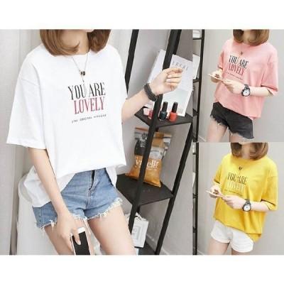Tシャツ 半袖 春夏 夏 夏物 マルネック ファッション プリント tシャツ レディース 半袖Tシャツ 夏適用 かわいい 3カラー