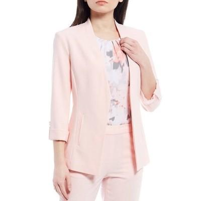 カルバンクライン レディース ジャケット・ブルゾン アウター Lux Stretch Suiting Roll-Tab Sleeve Cut-Away Front Hem Open-Front Jacket