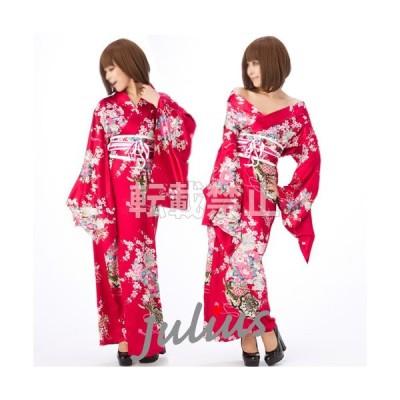 花魁  和柄 サテン地 着物 ロングドレス  エンジ 濃赤 gc59     コスプレ よさこい 衣装 祭り 民族衣装 浴衣 ゆかた ナイトドレス