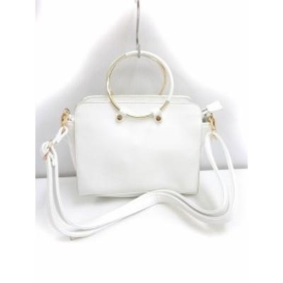 【中古】リング付き ショルダー バッグ ハンド 手提げ オフホワイト 白 かばん 鞄 レディース