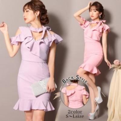 キャバ ドレス チョーカー 風 リボン 付 マーメイド ドレス   ドレス キャバ キャバドレス 大きいサイズ ドレス ワンピース ミニドレス