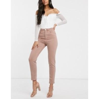 エイソス レディース デニムパンツ ボトムス ASOS DESIGN Farleigh high waist slim mom jeans in dusty pink Dusty nude