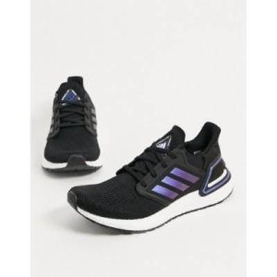 アディダス メンズ スニーカー シューズ adidas Ultraboost 20 sneakers in black with blue detail Black