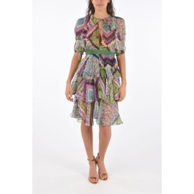 DSQUARED2/ディースクエアード Multicolor レディース Floral Printed Silk Dress with Belt dk