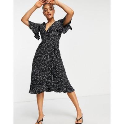 アックスパリ レディース ワンピース トップス AX Paris ruffle wrap midi dress in comma print Print