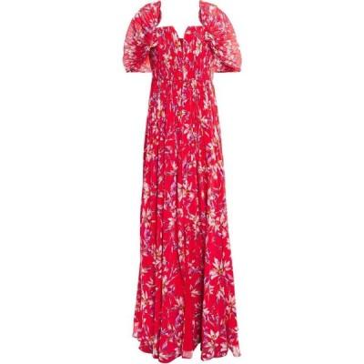 アムール AMUR レディース パーティードレス ワンピース・ドレス pleated floral-print crepe de chine gown Red