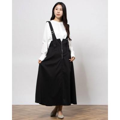 ジーラ GeeRA ベルトデザインジャンパースカート (ブラック)