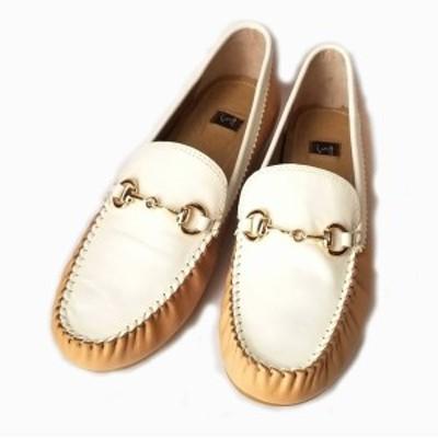 未使用 キズあり イング ing ローファー ビット 24 レザー バイカラー ホワイト 白 べージュ レディース シューズ 靴 【中古】