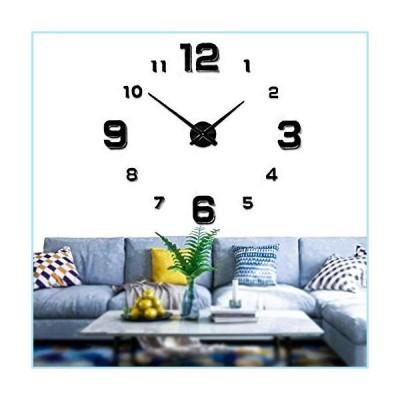 新品Mintime Modern Frameless DIY Wall Clock Large 3D Wall Watch Mirror Numbers for Home Office Decorations