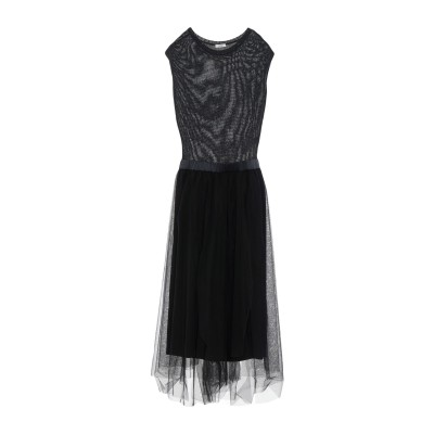 ペゼリコ PESERICO ロングワンピース&ドレス ブラック 38 ナイロン 100% / コットン / シルク / ポリウレタン ロングワンピー