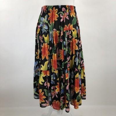 【古着】 花柄スカート ティアード ヴィンテージ ブラック系 レディースL 【中古】 n022375