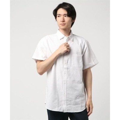 シャツ ブラウス 【BLUE STANDARD】リネンミックス半袖シャツ