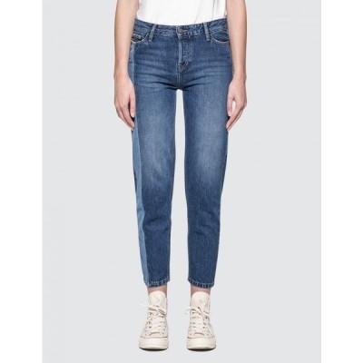 カルバンクライン Calvin Klein Jeans レディース ジーンズ・デニム ボトムス・パンツ Straight Ankle Jeans With Light Vert Denim Blue