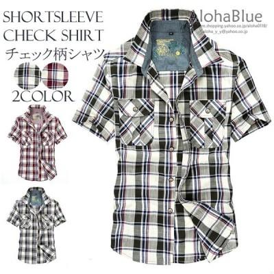 チェックシャツ カジュアルシャツ メンズ 半袖 ストレッチ おしゃれ お兄系 ファッション 夏物 新作 父の日