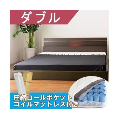 棚・照明デザインベッド ホワイト ダブル 圧縮梱包ポケットコイルマット付き【APIs】