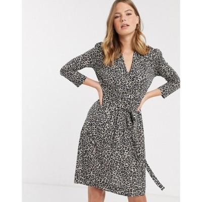 フレンチコネクション レディース ワンピース トップス French Connection Brunella leopard print tie waist dress