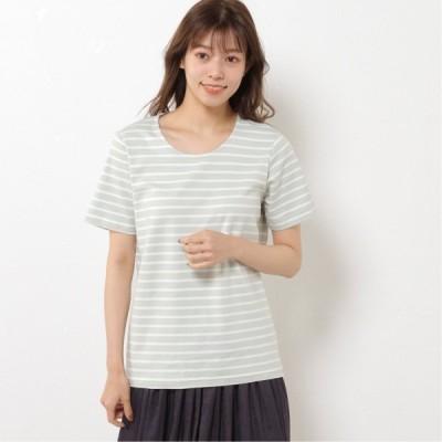 プレミアムコットン半袖Tシャツ(無地・ボーダー) ミント×オフ M L LL