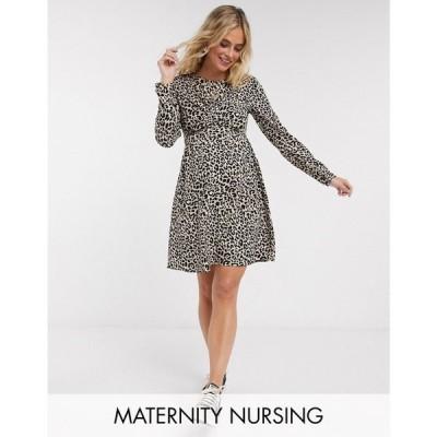 エイソス ASOS Maternity レディース ワンピース Asos Design Maternity Nursing Mini Wrap Dress With Long Sleeves In Leopard Print