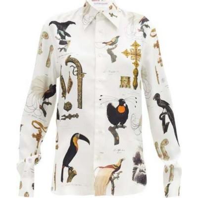 アリスター マッキー Alister Mackie レディース ブラウス・シャツ トップス Illustrative-print silk-twill shirt Ivory