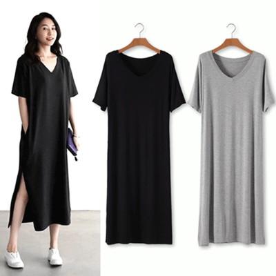 韓国ファッション おしゃれ レディース  ワンピース  ロングT  Tシャツ  半袖 贅肉カバー 夏物 部屋着 パジャマ