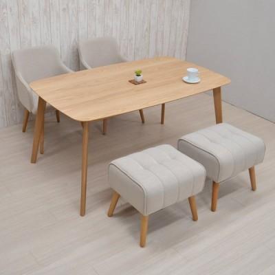 ダイニングテーブルセット 4人用 150cm 5点セット 肘掛椅子 クッション スツール cote150-5st-shubu342okbe 351 ナチュラルオーク色 17s-4k nk buru