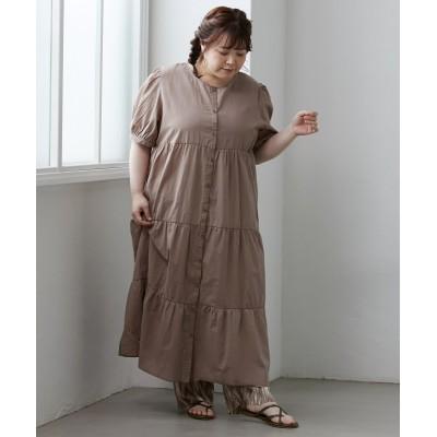 大きいサイズ ティアードガウンワンピース ,スマイルランド, ワンピース, plus size dress