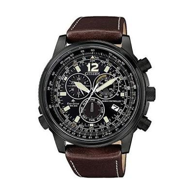 [シチズン]電波ソーラー腕時計 200m防水 ブラック パイロットクロノグラフ 本革ベルトCB865-15E[並行輸入品]