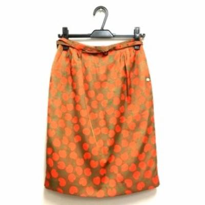 【中古】ミュベール muveil チェリー柄 膝丈 タイトスカート ボトムス 36 ブラウン/オレンジ 茶 橙 SSAW レディース