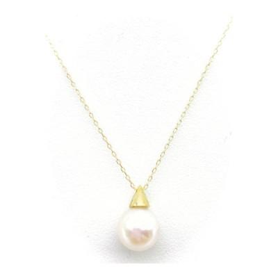 真珠 K18 アコヤ パール ペンダント ネックレス 8.5mm かわいい 三角帽子 本真珠 18金 Akoya Pearl