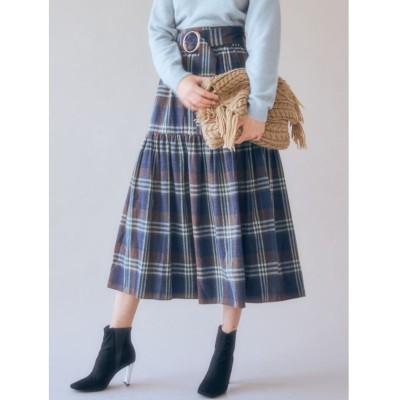 【マーキュリーデュオ】 ベルト付チェックティアードスカート レディース ネイビー F MERCURYDUO