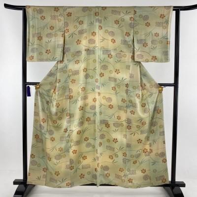 小紋 秀品 笹蔓 ぼかし 薄緑 袷 身丈158.5cm 裄丈62.5cm S 正絹 中古 PK50
