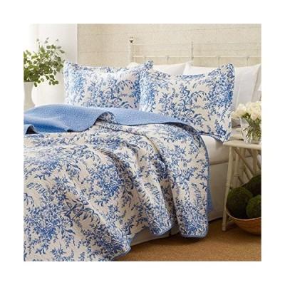 ベッドカバー ピロカバー 3点セット ローラアシュレイ ベッドフォード コットンキルトセット ブルーフラワー 寝具 Laura Ashley Bedford Cotton Quilt Set
