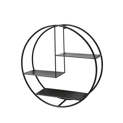 WHW Whole House Worlds 工業用ラウンドメタルウォールシェルフ 3レベル フローティング スカンジー コンテン