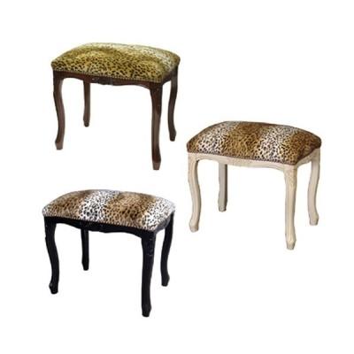 イタリア製家具 スツール ヒョウ柄生地 動物柄 猫脚 腰掛け椅子 こしかけ 玄関 リビング 寝室 アンティーク クラシック