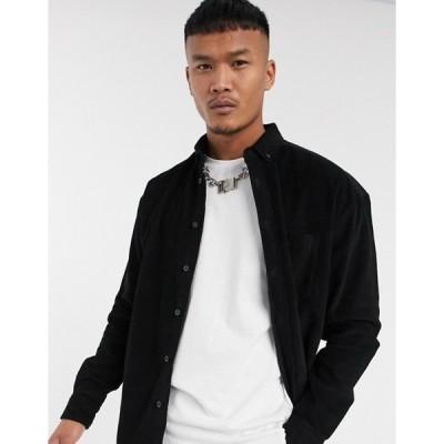 エイソス メンズ シャツ トップス ASOS DESIGN 90's oversized corduroy shirt in black
